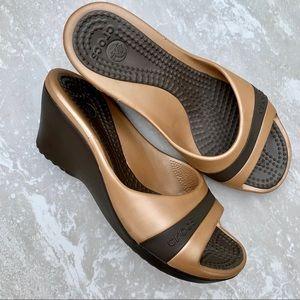 Crocs Gold Sassari Wedge Heels Sandal Slide 8